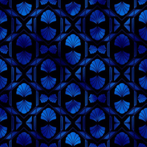 Scallop Shells in Black and Classic Blue Art Deco Vintage Foil Pattern