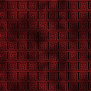 Black and Ruby Red Foil Vintage Art Deco Key Pattern