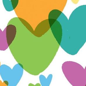 teal rainbow hearts large