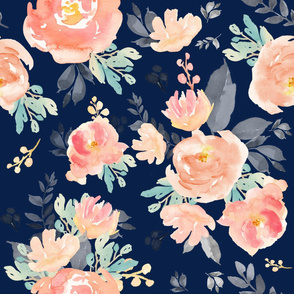 """30"""" Coral Grey and Mint Florals Navy"""