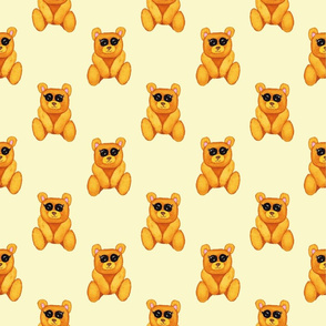 Teddy bears on yellow