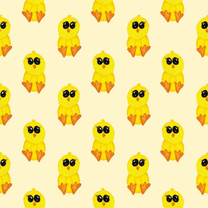 baby chicks on yellow