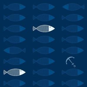 Monochrome fish & anchors