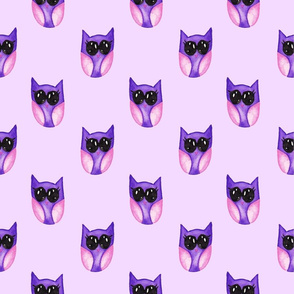 Purple baby owls on light purple