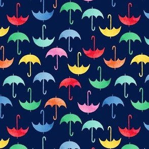 umbrellas on navy blue small scale