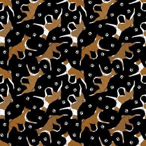 Trotting red Basenjis and paw prints - black