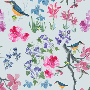 Chinese Watercolor Flora Fauna pattern