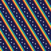 Groove Line* (Multicolored on Jackie Blue) || rainbow stripes stars 70s 80s disco