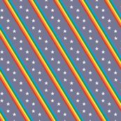 Groove Line* (Multicolored on Medium Jackie Blue) || rainbow stripes stars 70s 80s disco