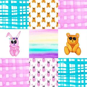 Teddy Bear Bunny Cheater Quilt