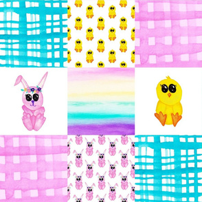 Bunny chick Cheater quilt