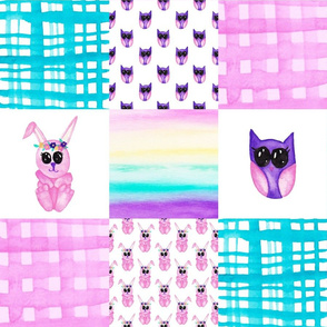 Bunny Owl Cheater quilt