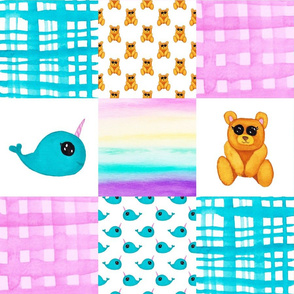 Narwhal Teddy Bear Cheater quilt