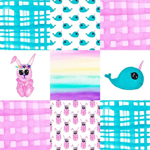 Narwhal Bunny Cheater quilt