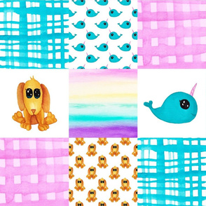 Narwhal Dog Cheater Quilt