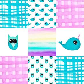 Narwhal Owl Cheater quilt
