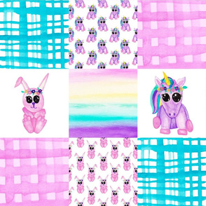Unicorn bunny Cheater quilt