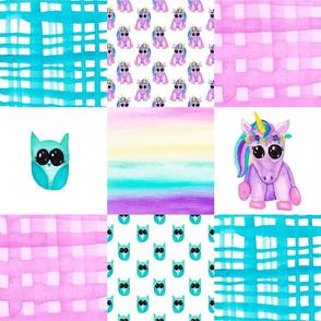 Unicorn Owl Cheater Quilt