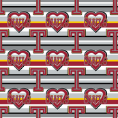 Temple Small Scale Stripes Heart University School Team ColorsRed Gray White Black