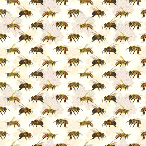 bees on soft yellow with honeycomb