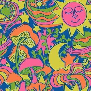 Psychedelic Daydream in Neon + Blue