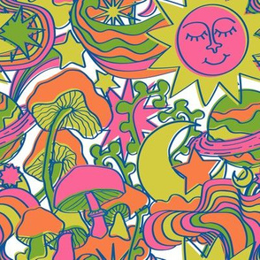 Psychedelic Daydream in Neon + White