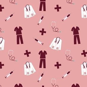 Medical Professional Pattern in Burgundy