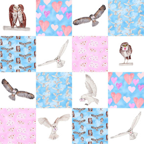 Cheater Quilt Love Owls white background