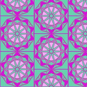 geometric design in purple and green