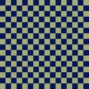 JP31 - Medium - Navy and Pastel Olive Checkerboard in Half Inch Squares