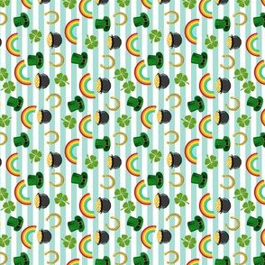 MINI - st patricks day fabric - leprechaun fabric, pot of gold, lucky fabric, luck of the irish fabric, rainbow fabric - stripes