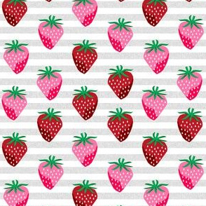 SMALL - strawberry fruit summer food berry fabric stripes grey