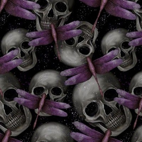 Skulls and purple dragonflies
