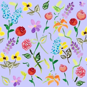 Watercolor Wildflower Garden in Lavender