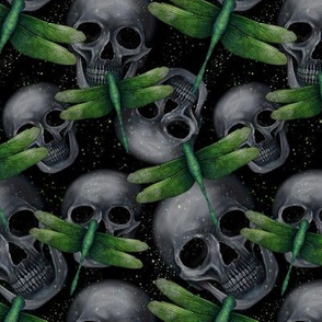 skulls and green dragonflies