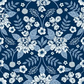 Classic Blue Dark Floral Pattern