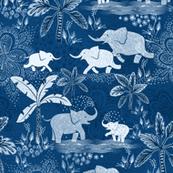 Happy Elephants in Blue