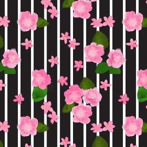 Black & White Stripes with Pink Watercolor Flowers