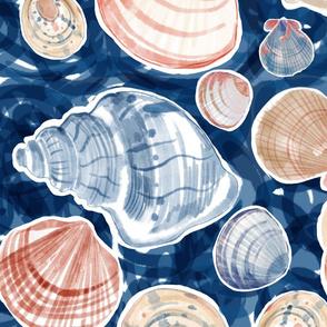 Big shells blue sea