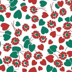 Retro Heart Flower Garden in Red + Green