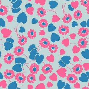 Retro Heart Flower Garden in Neon Blue + Pink