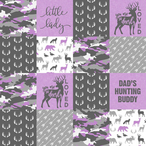 Little Lady - So Deerly Loved - Woodland Patchwork - Purple and grey - Dad's Hunting Buddy -   LAD20