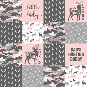 Little Lady - So Deerly Loved - Woodland Patchwork - Pink and grey - Dad's Hunting Buddy - LAD20