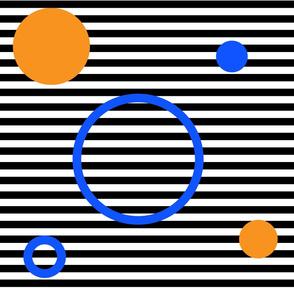 circle on stripes - orange and blue