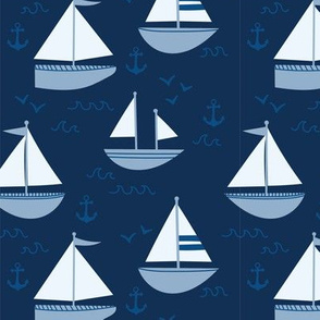 Sailboats in Classic Blue