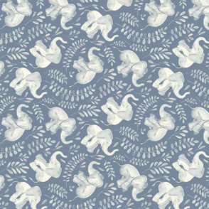 Laughing Baby Elephants - monochrome soft blue and cream - rotated