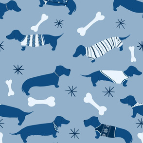 Blue Dachshund Pattern