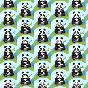 Cute Panda with Bamboo Pattern
