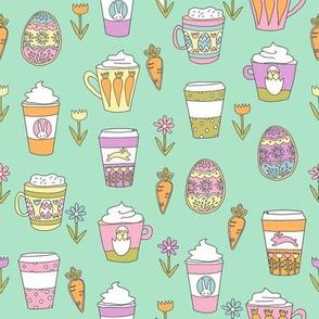 easter coffee fabric - coffee, cookies, cute, spring, pastel cookies, sugar cookies - mint brights
