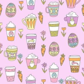 easter coffee fabric - coffee, cookies, cute, spring, pastel cookies, sugar cookies - pink brights